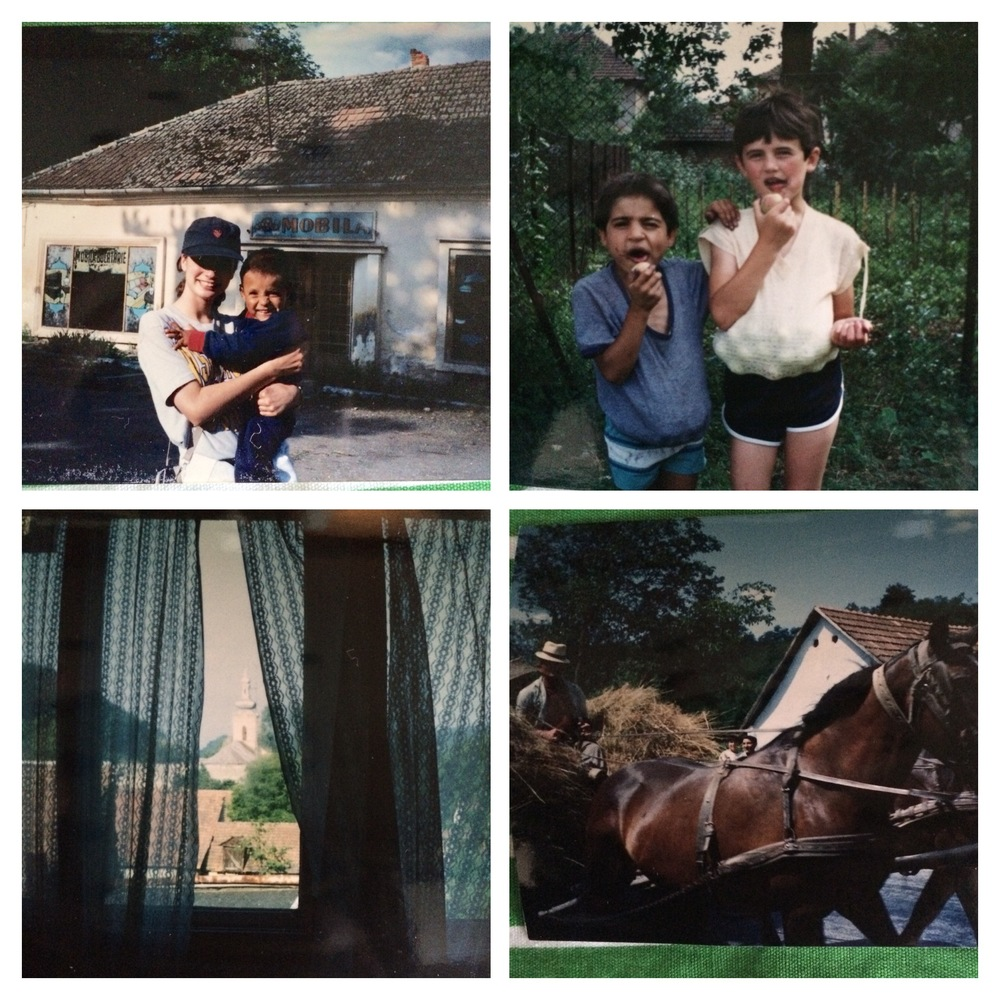 1. 15 year old me, with my buddy Alex, in front of market that had no food  2. crab-apple and berry picking with the kids  3.view from my room  4.  horses and wagons shared the roads with cars,