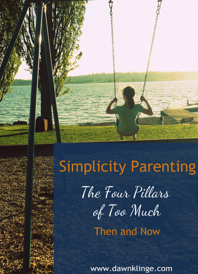 "The book, Simplicity Parenting, by Kim John Payne, is a great resource.  It  has influenced my parenting choices over the years.  A main idea of the book is to question whether we are building our families on the four pillars of ""too much"":  too much stuff, too many choices, too much information, and too fast"