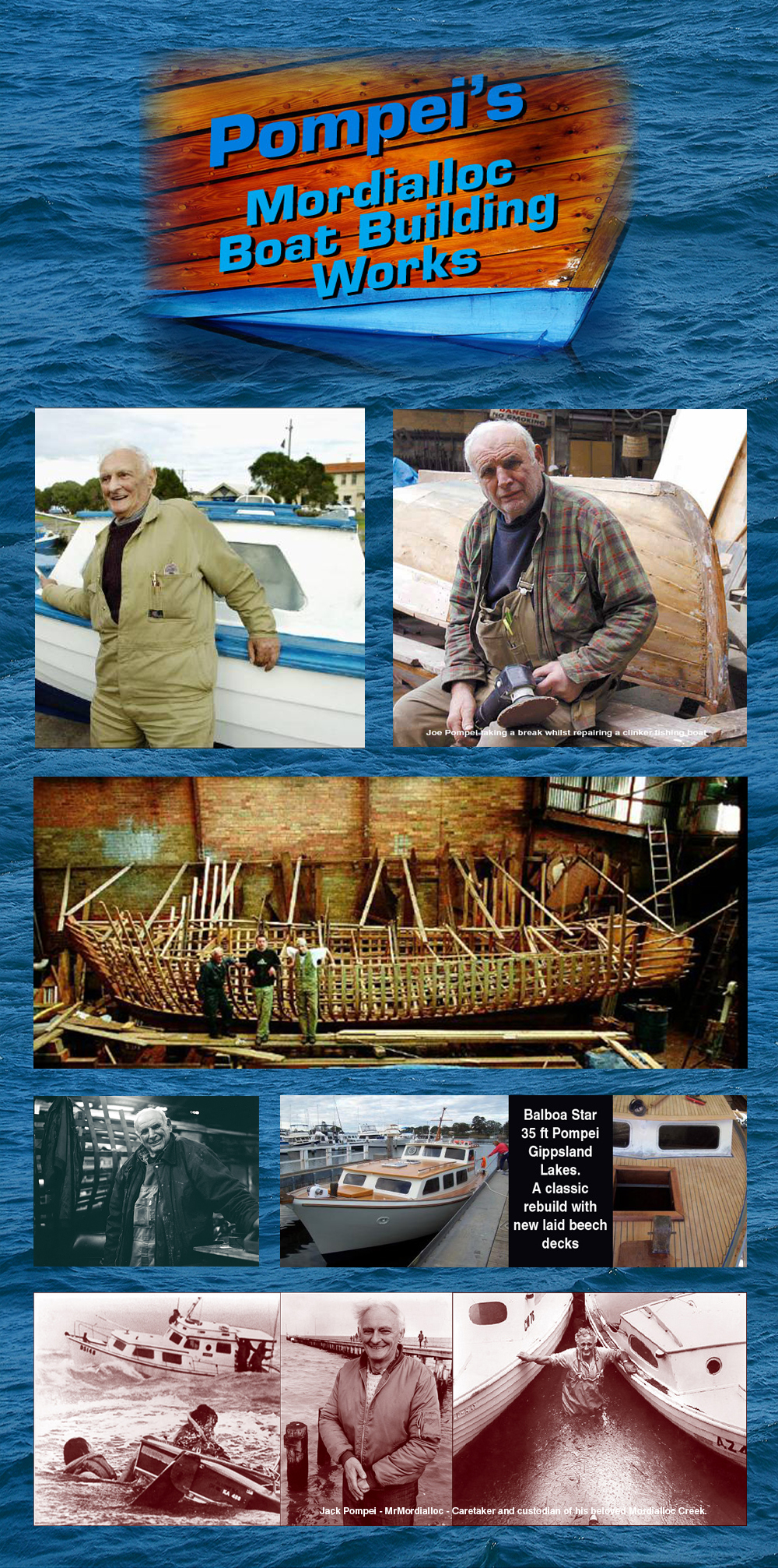 Pompei Boatbuilders a Mordialloc and Australian Wooden Boat Building institution.