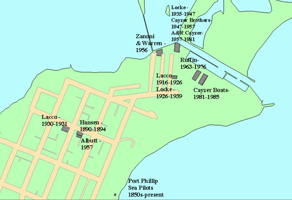 This map of the township of Queenscliff indicates the location of the wooden boatbuilding families and the relevant time lines of their tenure.