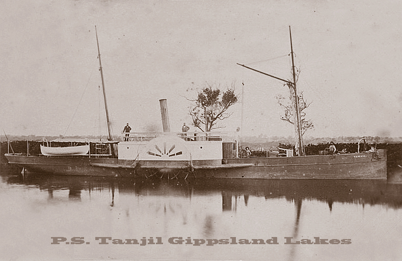 The P.S. Tanjil, loading and unloading cargo in the Gippsland Lakes in 1873.