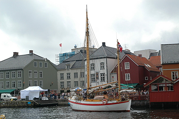 The Halvorsen family birth place.  Arendal Harbour, today, with a classic wooden double ender about to dock.