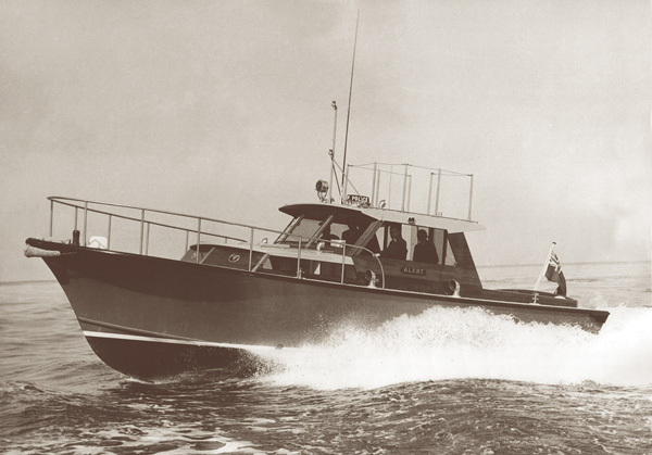 The replacement of 'Nemesis' was with the new 40 footers 'Nemesis' & 'Alert' both non flying bridge versions of the popular model and powered by 250hp Chrysler Imperial V8's giving a top speed of 24 knots.