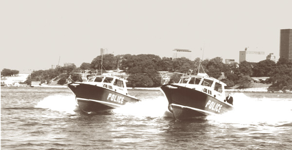 The photograph shows the great fanfare that surrounded the delivery of these Halvorsen Police boats and they offered valuable and long standing service to the community.