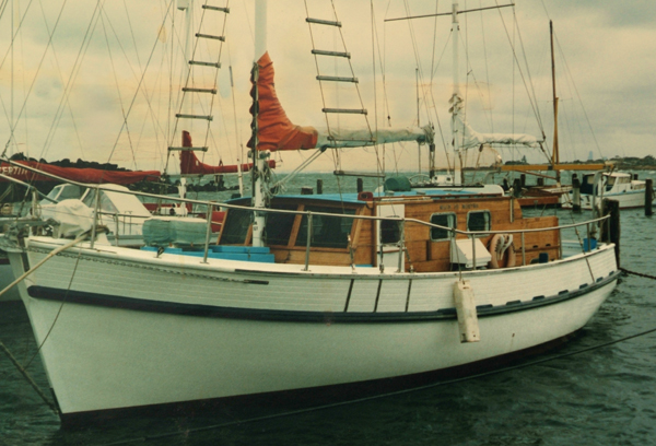 Maid of Martha, a Huon pine motor sailer ketch built by Alec and Rod Lacco at Mount Martha in 1970. This photo was taken at Sandringham after returning from many thousands of miles of cruising around Australia and the Pacific. She was refurbished after these photos.