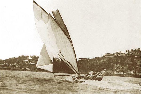 Commonwealth, the 10ft skiff the first boat designed and built by Norman R Wright, aged 16 years. Winner of 4 Australian titles.