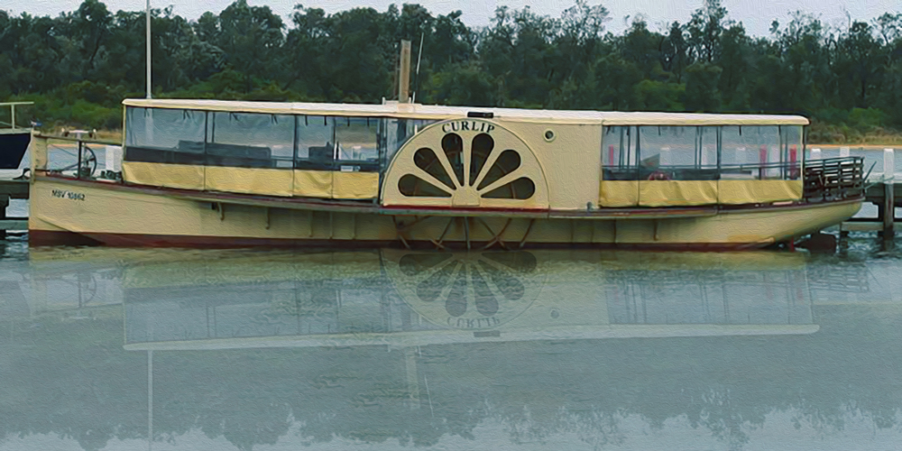 "The Curlip II at Lakes Entrance in 2012. Her voyage from Marlo to The Lakes received great acclaim and huge public interest and support. However since her return to Marlo, she has languished, falling into disrepair. Marlo is her historical and emotional home, however for Curlip to fulfil her tourism and historical boat potential, she should be relocated to the Lakes and returned to work, plying tourism trade up and down the Mitchell, Nicholson and Tambo Rivers. She would also be strategically placed for slipping and regular maintenance. Our banner image above shows the Curlip taking ""pride of place"" at the Mitchell River Wharf in Bairnsdale. the images above, display her at the Nicholson River."