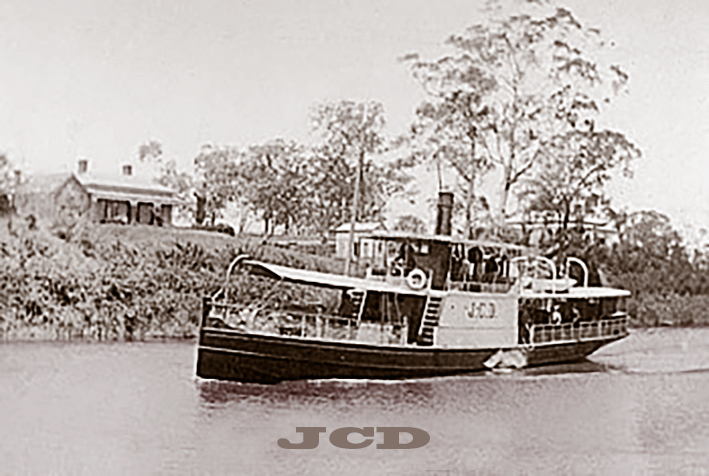 The JCD steaming down the Mitchell River, circa 1882.
