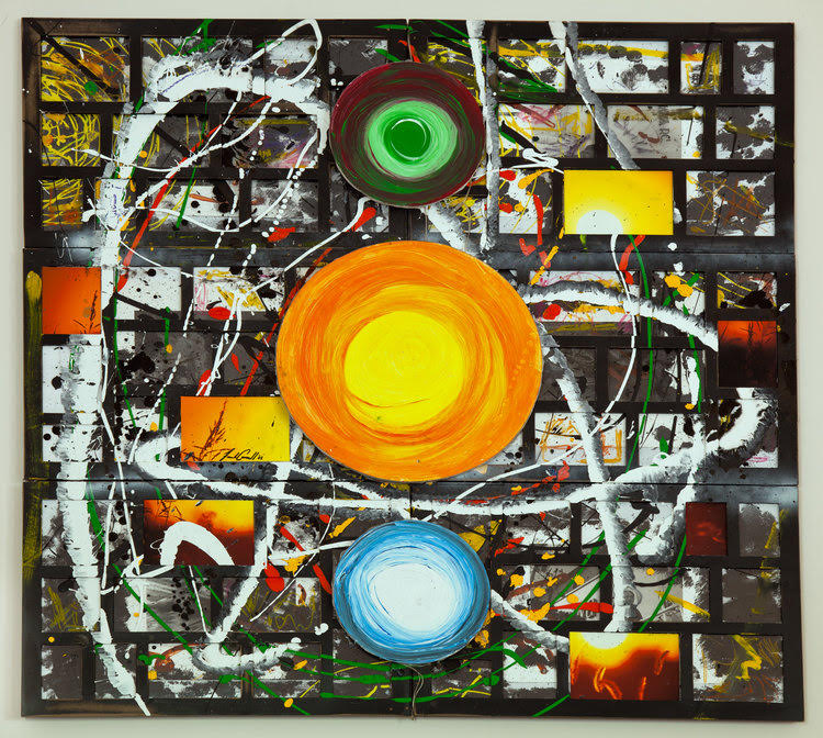 """Terabyte"" 2008, acrylic and ink on photo frames and foam core, 48""x48"""