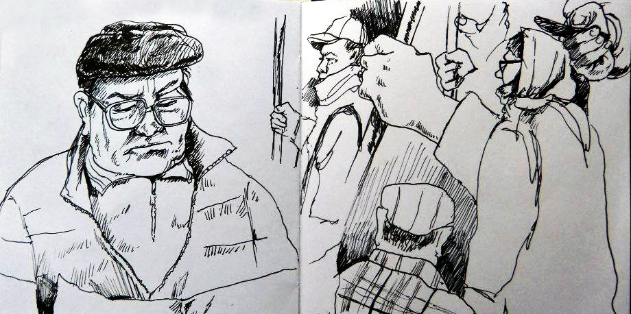 public sketching I did while in Riga, Latvia. The man was interesting to me because he seemed oblivious to the the bustling world around him- a  good metaphor for this post.