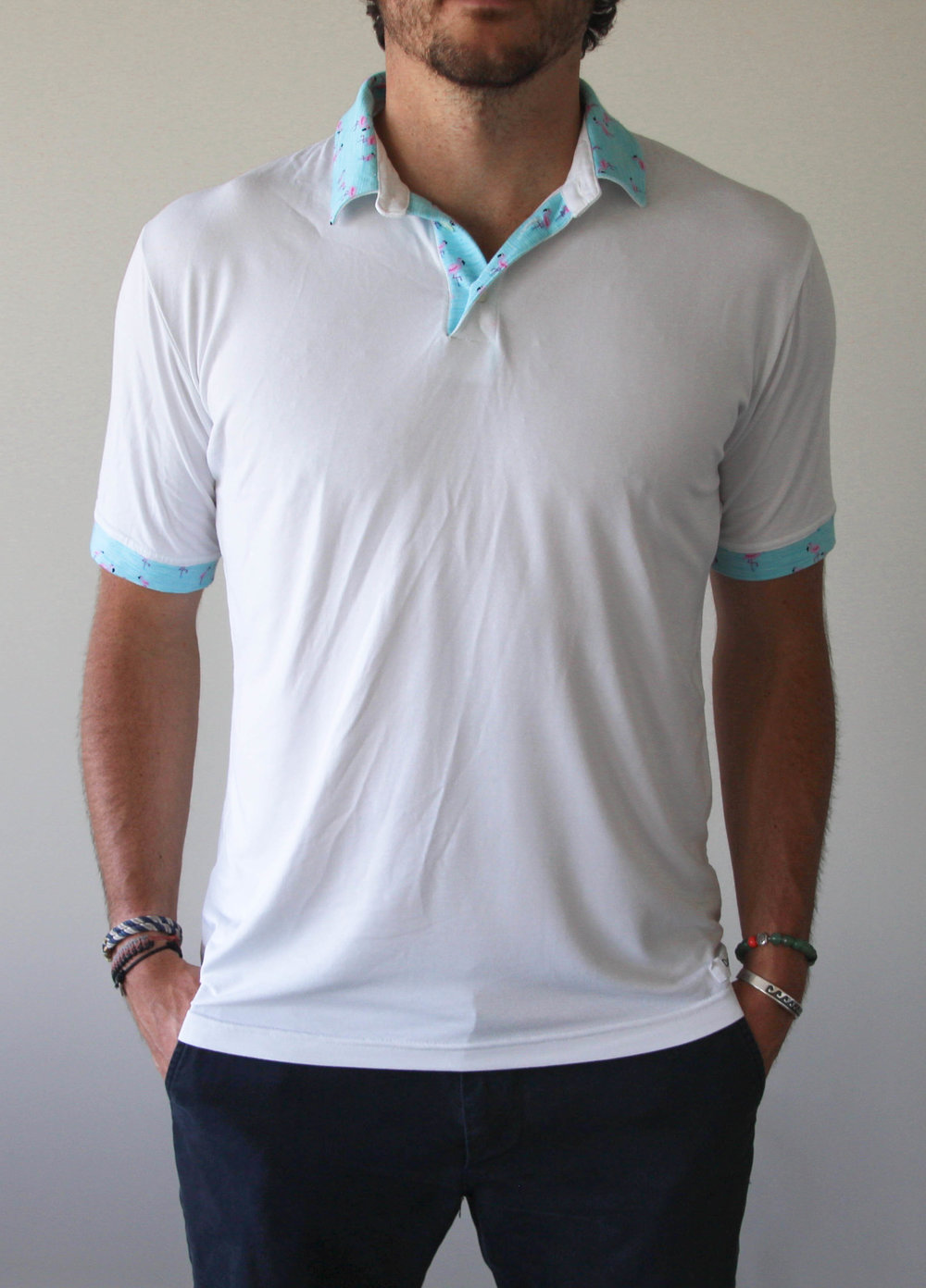 Spring & Summer '17 - White and Aqua Flamingo Polo $130 92% Rayon 8% Spandex
