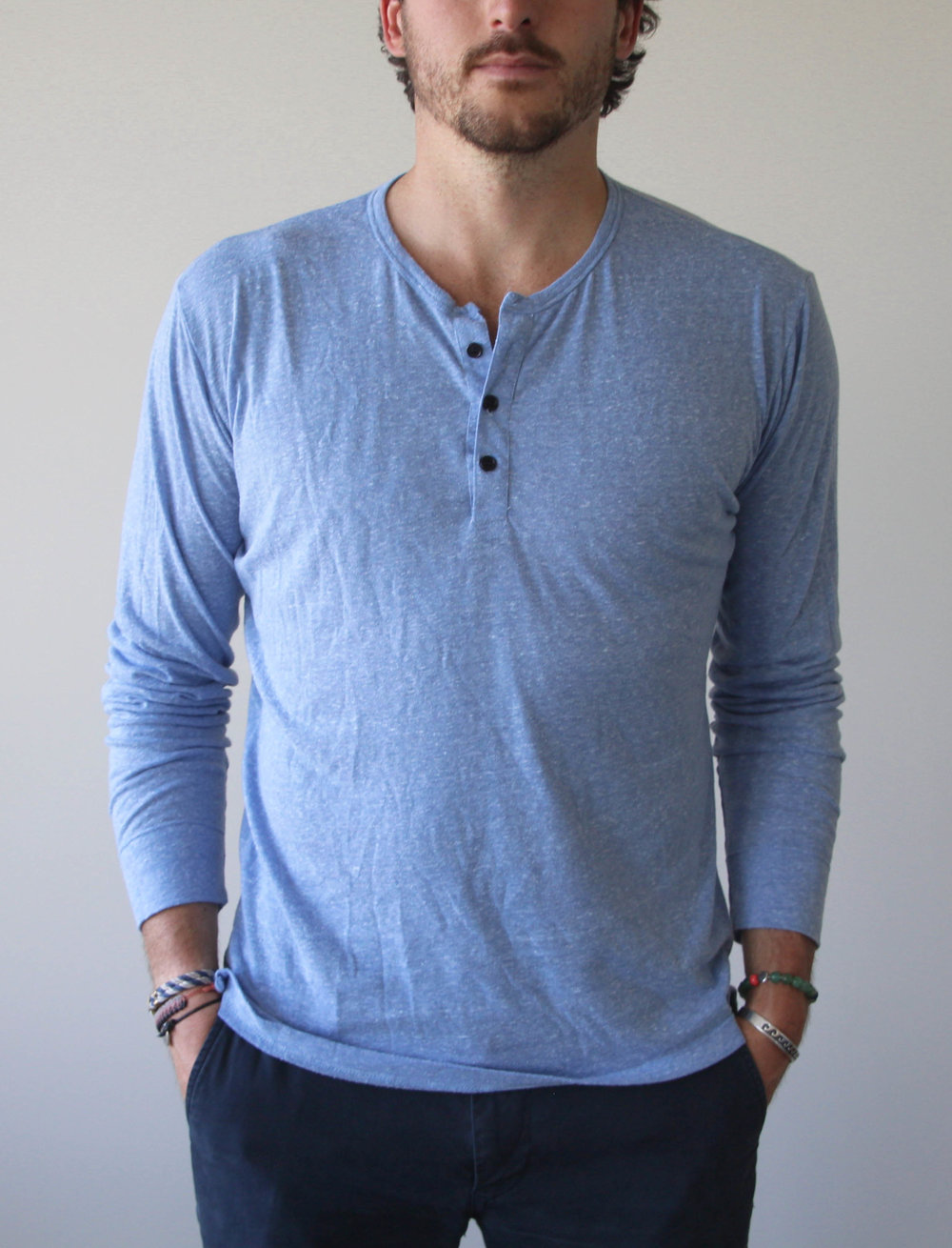 Spring & Summer '17  - Light Blue Tri Blend Henley $11050% Polyester / 25% Rayon / 25% Cotton