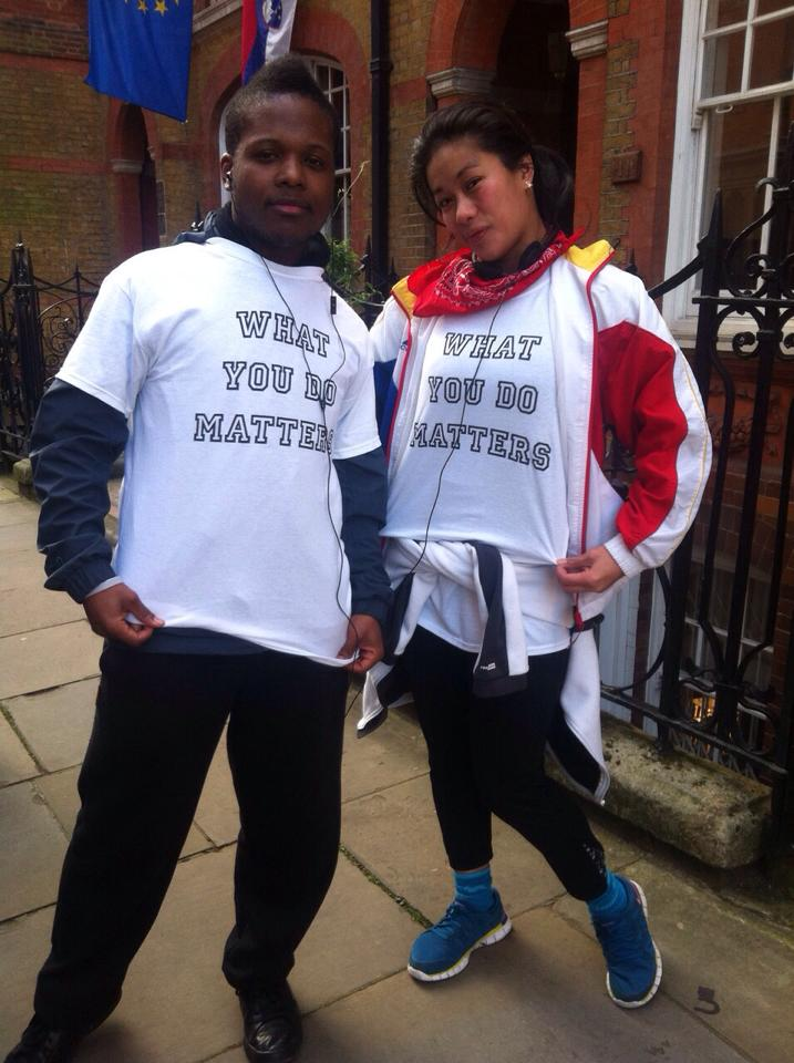 Jodie and friend supporting WYDM at their Christmas day run 2014