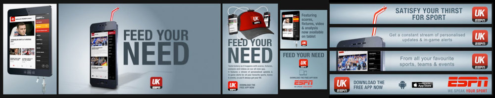 Design Producer 'Feed Your Need' online campaign Client: ESPN EMEA Agency: BDA Creative, London