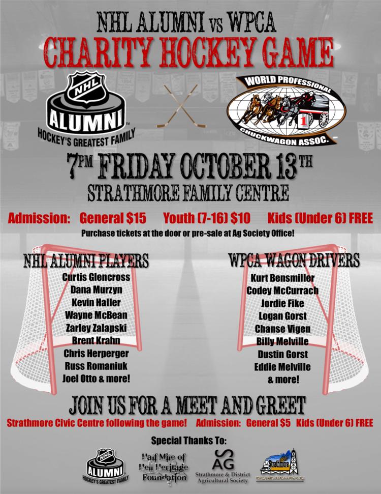 NHL Alumni Vs WPCA Charity Hockey Game Strathmore Ag Society