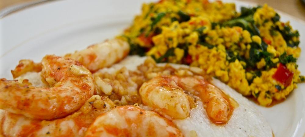 "Classic ""Shrimp"" n' Grits w/ Garden Tofu Scramble"