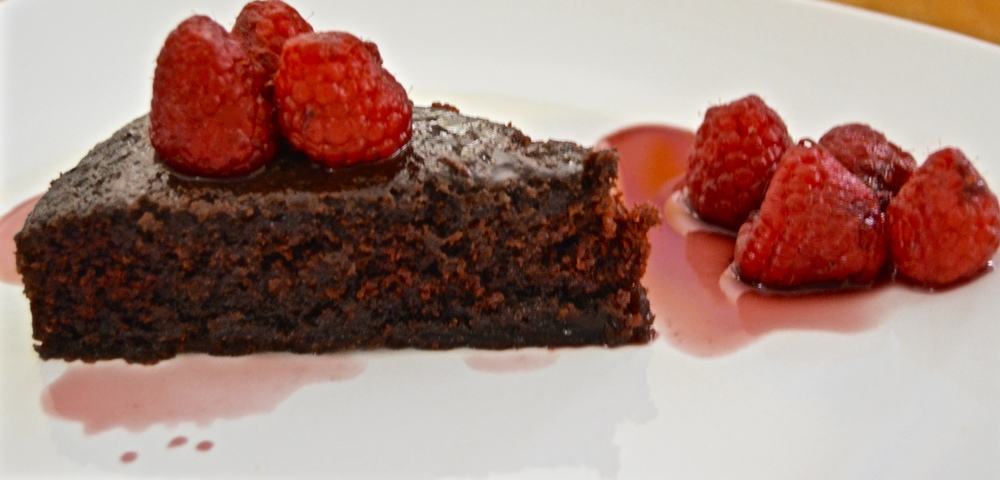 Dark and Boozy Chocolate Cake with Merlot Rasberries in Red Wine