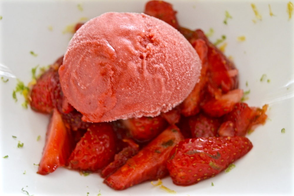 Strawberry- Red Wine Sorbet over Fresh Strawberry Salad