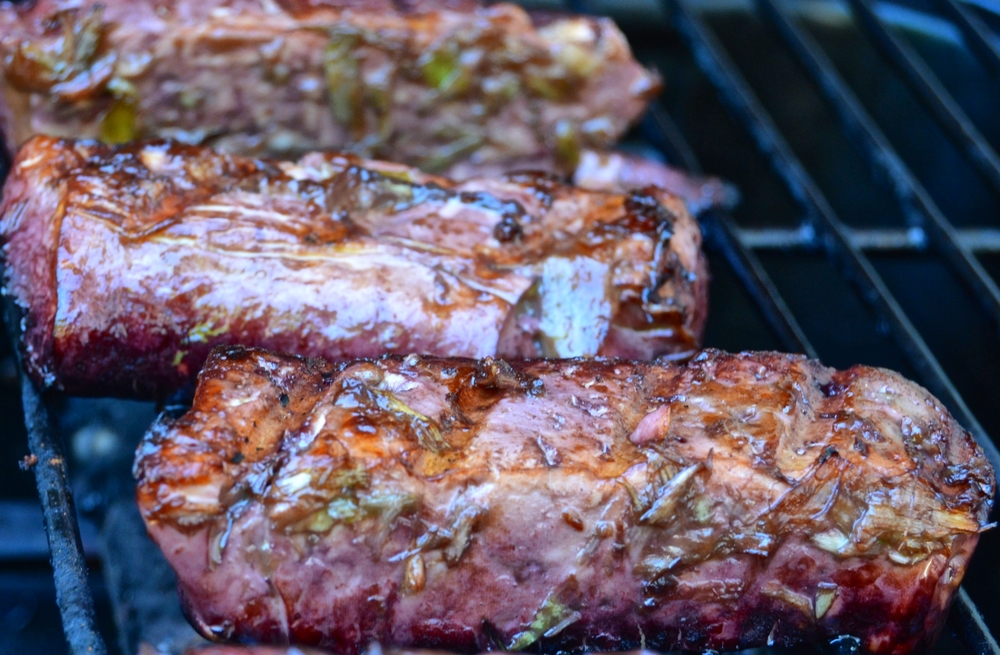 Wine Stained Tofu Steaks on the Grill