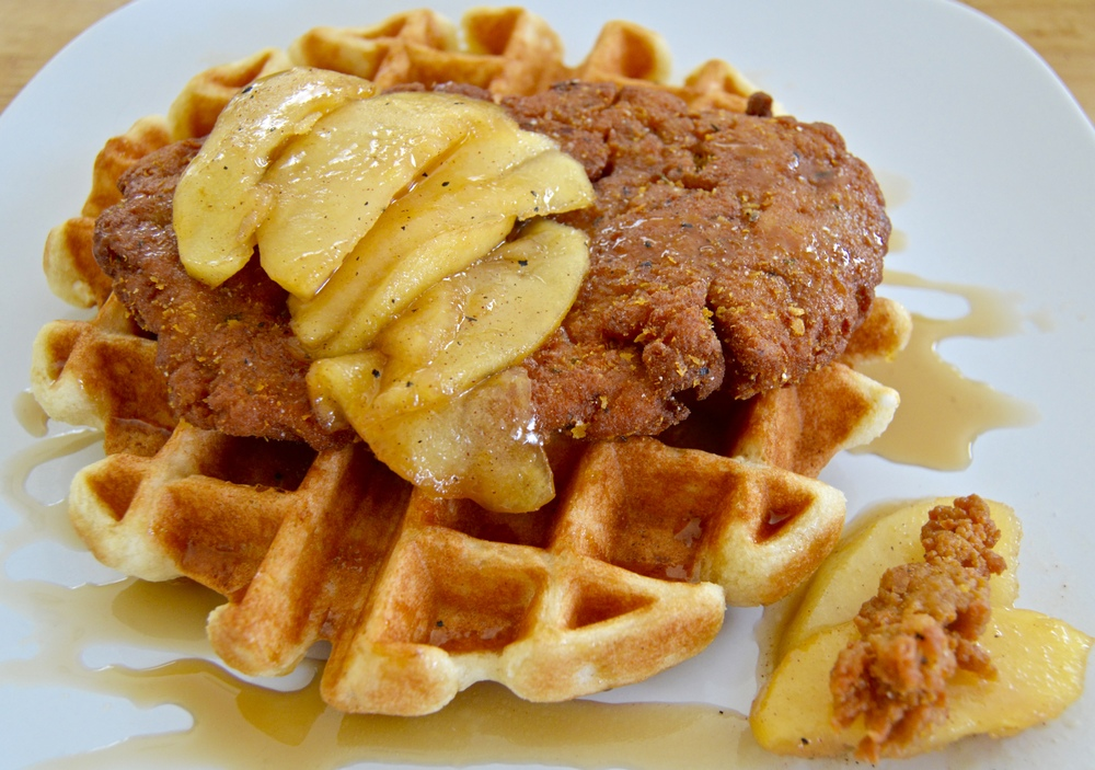 Homemade SC Seitan and Maple Waffles with Lemon Curd Spiced Apples