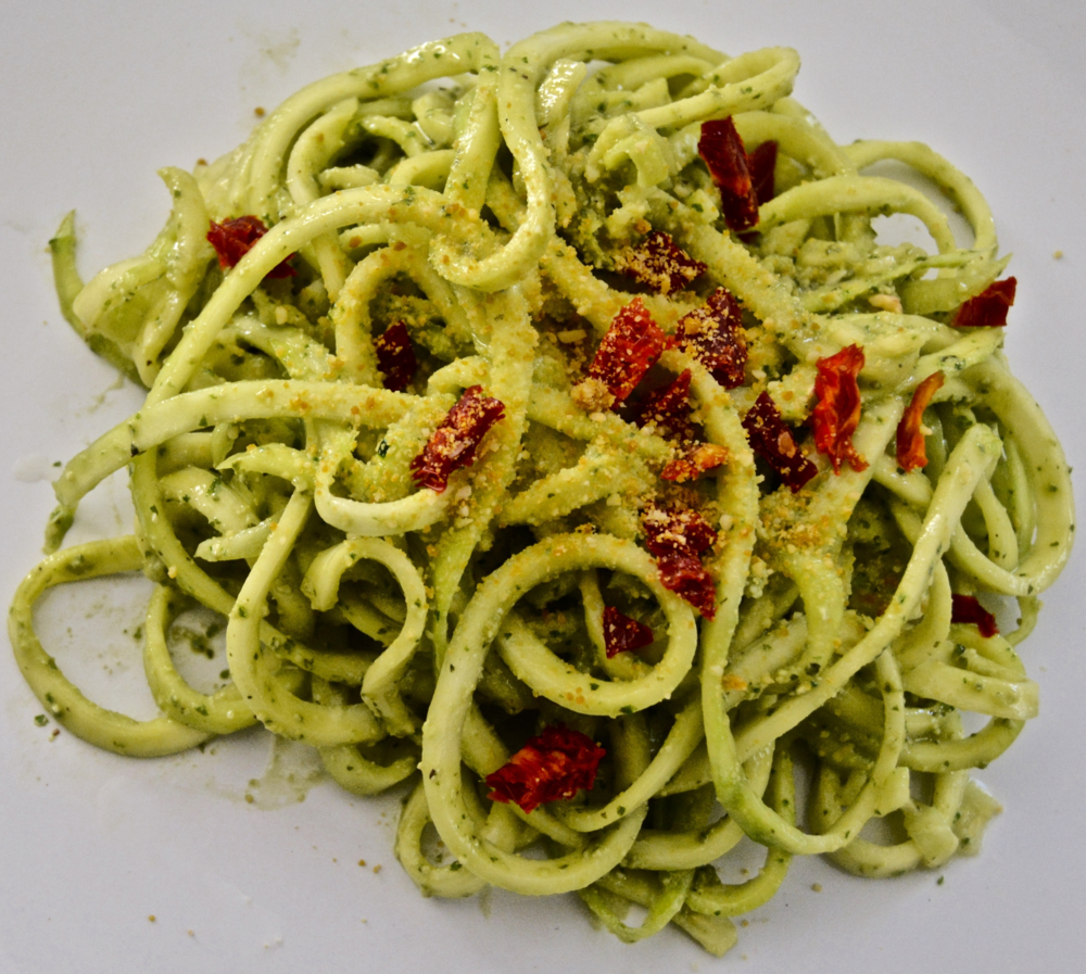 Zucchini Noodles with Beautifully Basil Pesto + Sundried Tomatoes + Raw Parmesan