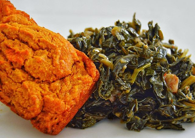Double Sweet Potato Cornbread and Smoky Collard Greens! A perfect combination🤗 Have I ever mentioned how much we LOVE😍 sweet potatoes at Kemba's Kitchen? Save the date: Friday, February 22,2019 #staytuned👩🏾‍🍳 #vegan #plantbased #kembaskitchen #sweetpotato #collardgreens #soulfood #vegansoulfood #dinner #cornbread #veganlosangeles #whatveganseat #vegansofig #veganchef