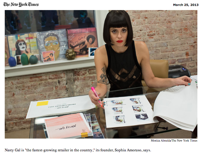 Founder Sophia Amoruso with our deck on her table in the New York Times.