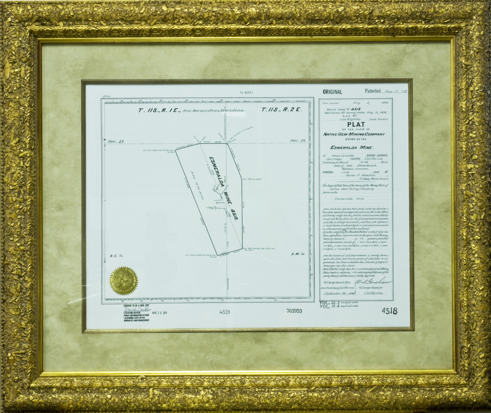 Certified copy of the plat of the Esmeralda Mine, which was surveyed in 1906. Click to enlarge.