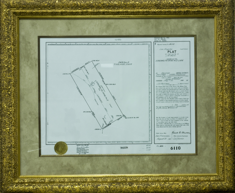 Certified copy of the plat of J. W. Ware's Emeralite Mine, which was surveyed in 1931.   Click to enlarge.