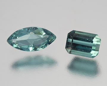 Indicolites from the Mountain Lily Mine: marquise 0.46 ct and the emerald cut 0.56 ct. A gift from Jeff Swanger of the Ocean View Mine. (Photo: Mia Dixon)