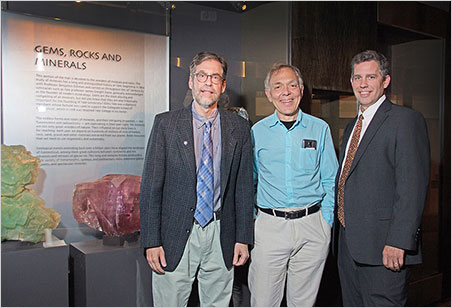 From left, Professor Jay Ague, the Peabody Museum's curator of mineralogy; David Friend; and the museum's director, David Skelly.