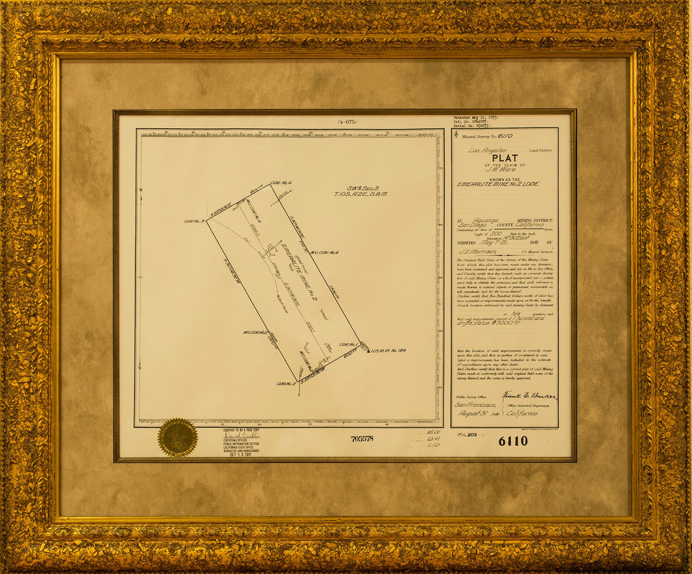 Plat of the Emeralite Mine No. 2 Lode.   Click to enlarge.