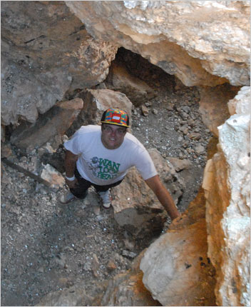 "Get down. Pala International's Will Larson is included in Westward Look's Sunday night presentation, ""Fine Mineral Collecting and the Second Generation."" Above, Will stands in an old main drift (tunnel) of the Esmeralda Mine in San Diego County's Mesa Grande District. See more on Pala's mining blog."