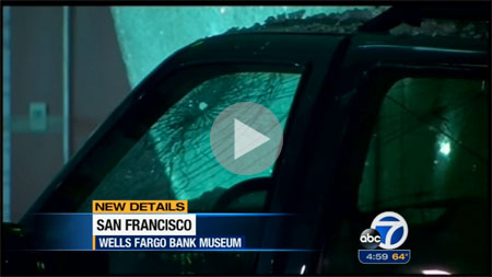 Battered battering ram. The stolen SUV used to gain entrance to the Wells Fargo History Museum in downtown San Francisco was discarded after the heist. (See streaming video here.) This is the fifth robbery since November using the battering-ram method.