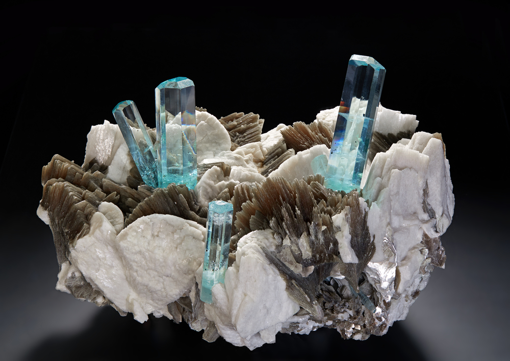 """Crown of Shengus.""  Aquamarine on feldspar and muscovite, Haramosh Mountains, Skardu District, Baltistan, Gilgit-Baltistan (Northern Areas), Pakistan, 27 cm. (Photo: Malte Sickinger, courtesy Munich Show)"