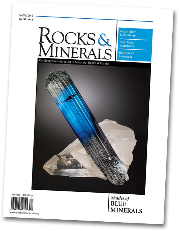 "In keeping with the TGMS theme, ""Shades of Blue: Minerals of the World,"" the current edition of  Rocks and Minerals   (91:1, Jan–Feb 2016)  looks at Blue's hues, from baby to indigo. In "" Blue Minerals: Exploring Cause & Effect ,"" our friend  Elise Skalwold , with co-author  William Bassett , takes the reader on a high-level tour of the science of blue, after noting that the color holds a special place in our world: ""from its vast expanses of cerulean waters to its azure heavens above…."""