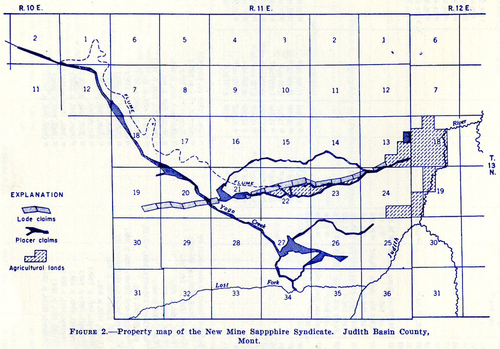 Figure 2.—Property map of the New Mine Sapphire Syndicate. Judith Basin County, Mont.