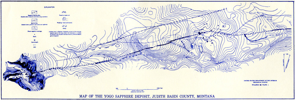 Plate 1.—Map of the Yogo Sapphire Deposit, Judith Basin County, Montana. (Click to enlarge)