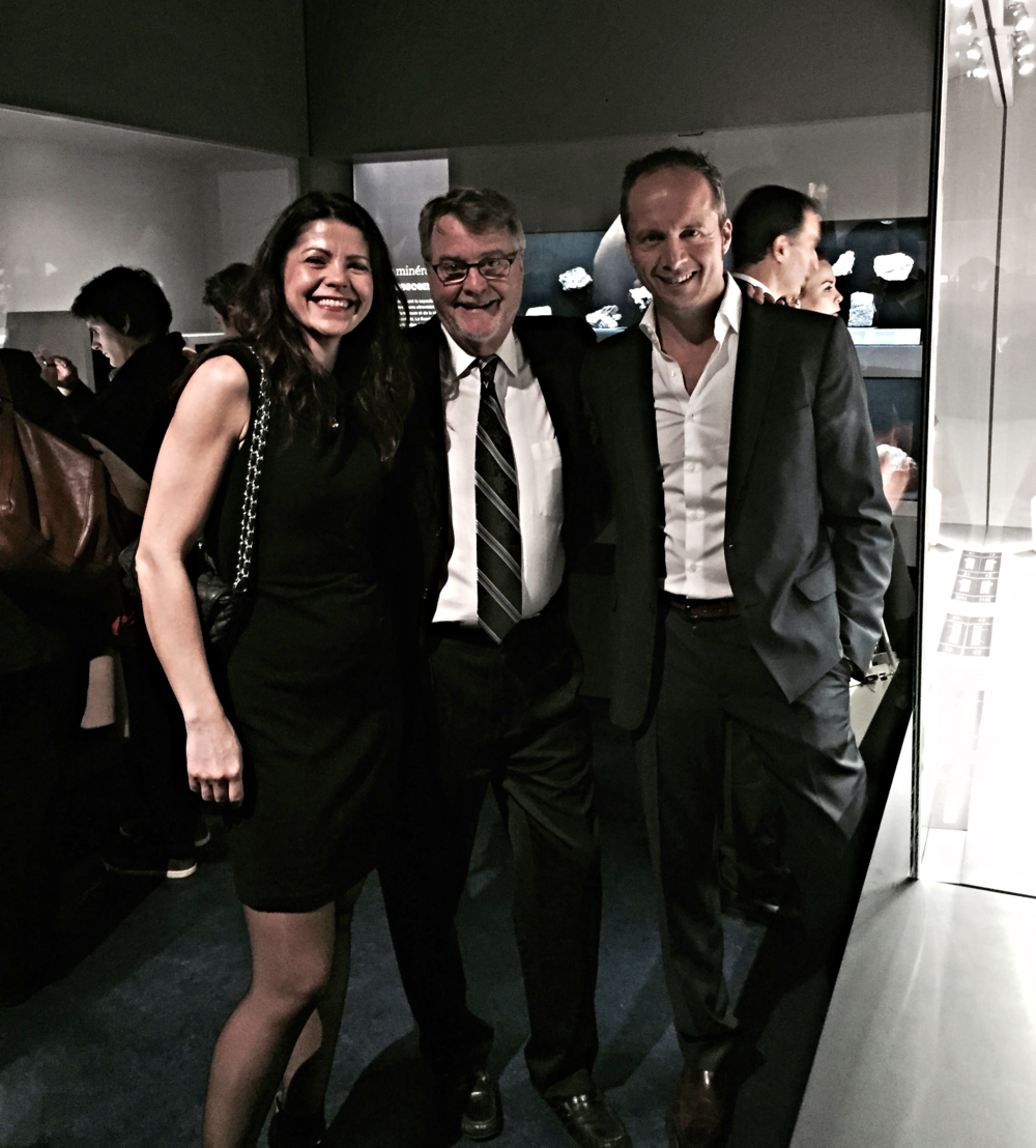 Alan Hart with Raquel Alonso-Perez, Curator of the Harvard Mineralogical and Geological Museum, and Bill Larson of Pala International at the opening of the mineralogical and geological hall of the Muséum national d'Histoire naturelle in Paris, December 19, 2014. (Photo: Patrick Dreher)