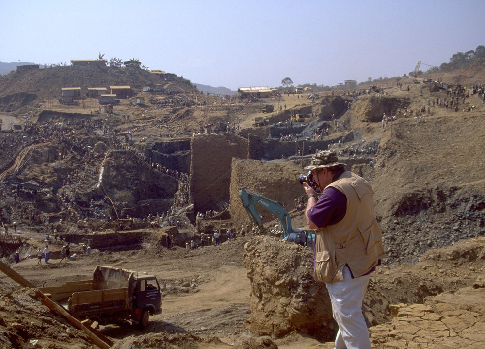 "Fred Ward engaged in his life's work, Hpakangyi jade mine, 1997.  See this   article   on the environmental devastation of jade mining posted on   his Friends of Jade website. For a detailed look at jade mining see ""  Heaven and Hell: The Quest for Jade in Upper Burma  "" by Richard W. Hughes and Fred Ward.  (Photo: Richard W. Hughes)"