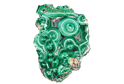 Shown here, from The Beauty of Science, is a malachite (cut and polished). Tourtscheninowski, Ural Mountains, Russia. Former collection of the King's Cabinet of Natural History, MNHN Collection, Paris. (Photo: François Farges © MNHN Collection)