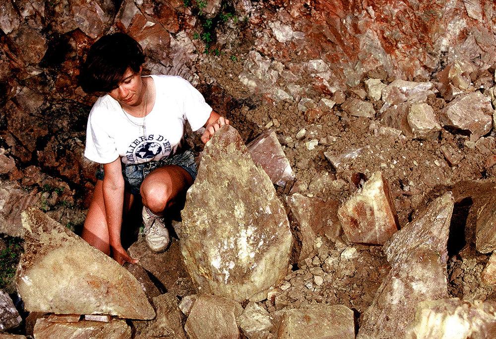 Caroline with geode, August 1988. (Photo: Alain Martaud)