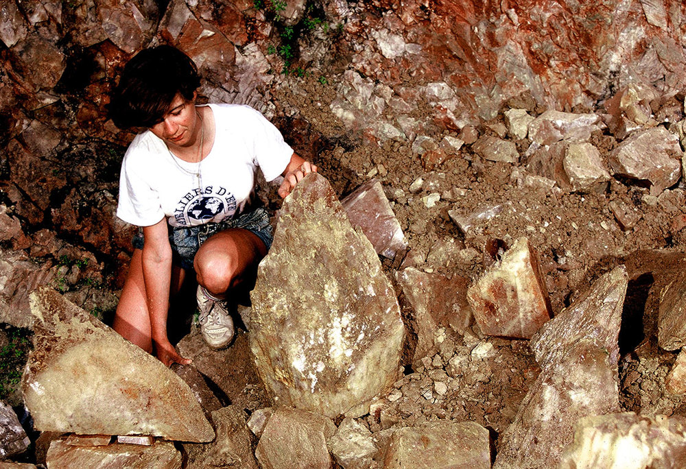 Caroline with geode, August 1988. (Photo: Alain Martaud)