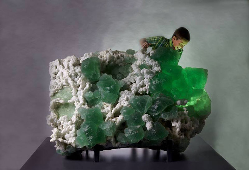 This 4,000-pound lime-green fluorite with quartz measures 5 feet by 4 feet. (Photo courtesy Yale University)