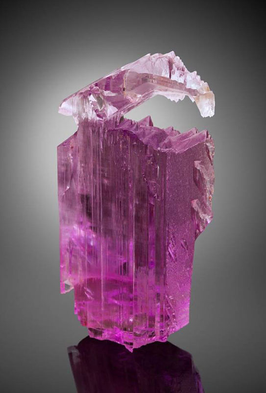 A kunzite crystal from the collection of Jim and Gail Spann. (Photo courtesy Yale University)