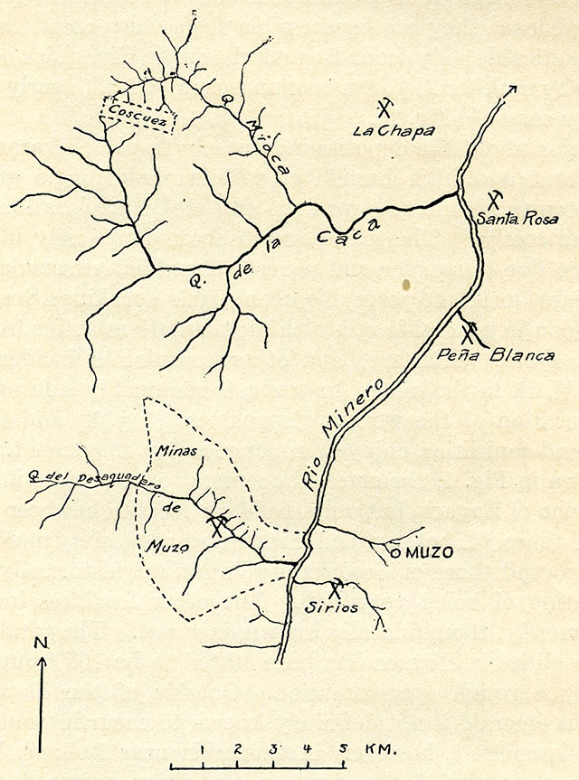 Fig. 2.—Sketch map showing the Muzo and adjacent emerald deposits. (The Muzo preserve, the property of the Colombian government, is inclosed by broken lines.)