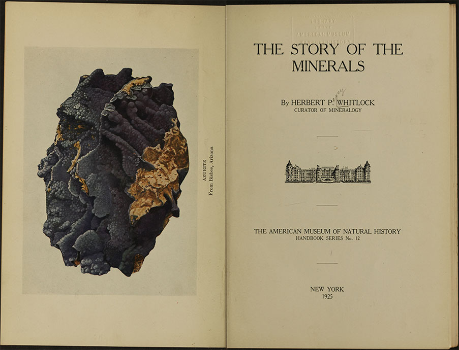 Although Whitlock advised the study of collections over that of books, he did author both academic and popular volumes. The latter titles include The Story of the Minerals (1925, above), The Art of the Lapidary (1926), The Story of the Gems (1936), and The Story of Jade (with Martin L. Ehrmann, 1949, the year after Whitlock's death).