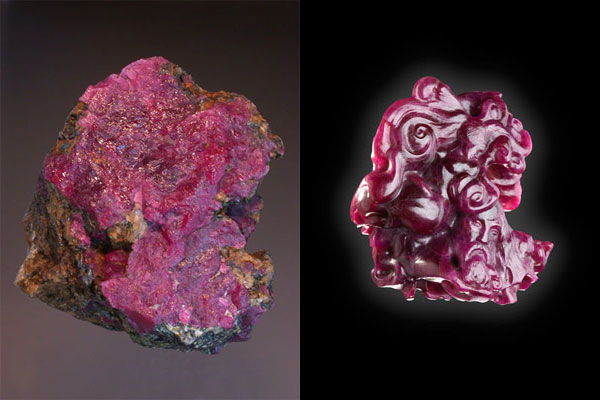 """The Kitaa Ruby rough, 440 carats of gem and near-gem material, was discovered in 2005 on the """"lakeside"""" during True North Gems sampling of corundum-bearing territory. It was believed to be the largest ruby found and documented in the Western Hemisphere. Having no potential for faceting, True North Gems chose to commission British Columbia sculptor Thomas McPhee to carve it. The design marries Greenland's Inuit traditions with its Norse heritage, as reported by Rapport. The carved weight is 302 carats and took more than ten months to execute."""
