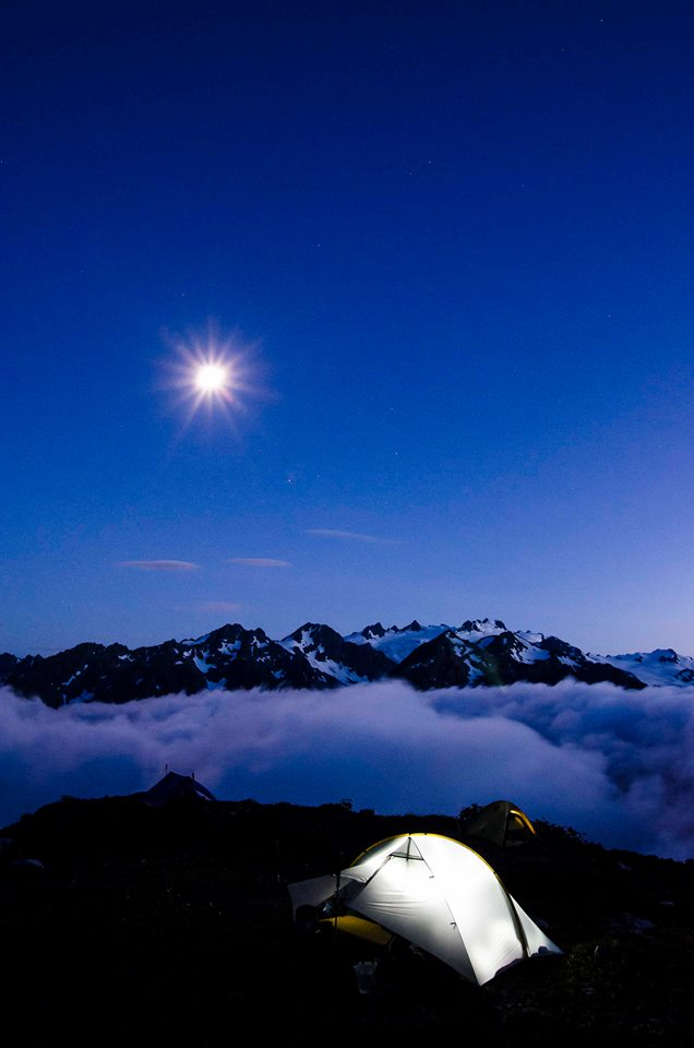Full moon over Mt Olympus from the Baily Traverse
