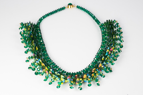Vintage Emerald Swarovski Crystal Bead Necklace — Multipearl 7767f3e58b18